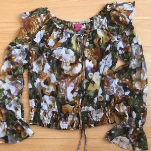 Sunny Leigh petite blouse PL floral brown green